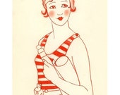Fashion Illustration - Madeline in Rouge - 4 X 6 print - 4 for 3 SALE