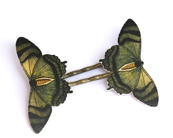 Mountain Lake Butterfly Bobby Pins - Green Bobby Pins - Butterfly Bobby Pins - Butterfly Jewelry - Butterfly - Green - Shrink Plastic