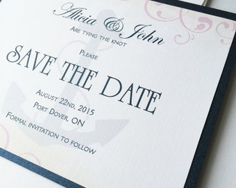 Nautical Wedding Save the Date card, anchor save the dates, cruise wedding save the date invitation, pink and navy blue save the date invite