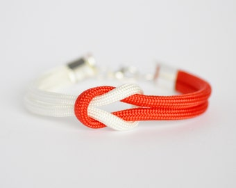 Red and white forever knot parachute cord nautical rope bracelet