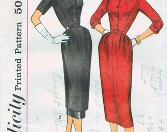 1950s Simplicity 2158 Vintage Sewing Pattern Junior Misses Slim Dress, Sheath, Afternoon Dress, Shirtwaist Dress Size 11 Bust 31-1/2