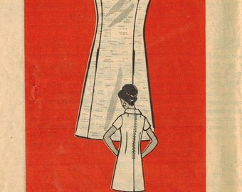 1970s Mail Order 9220 Vintage Sewing Pattern Misses Half Size A-line Dress, Sheath Size 14-1/2 Bust 37