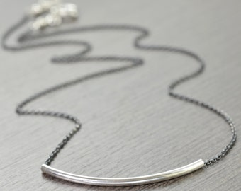 Minimal necklace Layering necklace blackened chain sterling bar necklace gifts for her