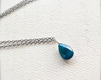 Lagoon Necklace - neon blue apatite necklace, oxidized sterling silver apatite necklace, electric blue necklace, OS19