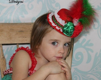 Christmas Baby Mini Top Hat Headband Fascinator - Red & Green Over The Top Flower Headband - Toddler/Girl Holiday/Pageant Photo Prop