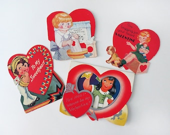 Lot of Four 1930s Valentine's Day Cards Featuring Adorable Little Girls with a White Picket Fence, Grater, Apron, Puppy Dog and Doll