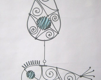 Wire Mobile Sculpture  With A Drop And A Bird In Pale Turquoise