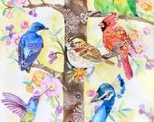 ooak-Birds in the Tree Original Art 10x8, flower,flowers,floral flora,romatic,romance,Nursery Art,birds art,birds Illustration