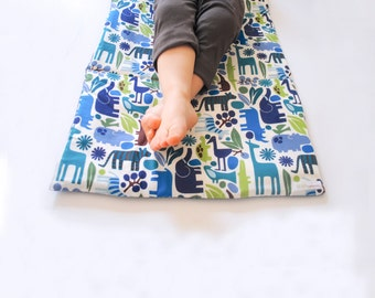 NAPMAT in Blue Zoo Animals- Toddler Nap Mat with Organic Denim- Non Toxic, Modern, Children