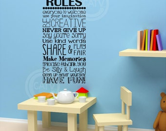 Vinyl Decal Playroom Rules kids room vinyl lettering wall quote decal sticker home decor