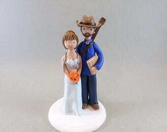 Wedding Cake Topper Custom Made Bride & Groom with a Guitar