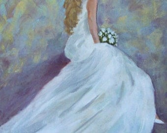 "Female romantic painting of woman in wedding gown, original, acrylic,  10"" x 8"", FREE Shipping!"
