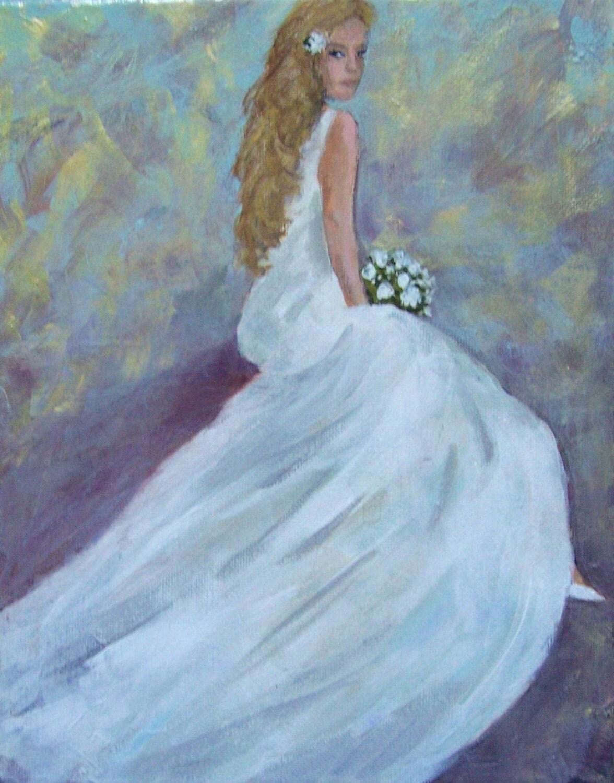 Femme peinture romantique de femme en robe de mariée