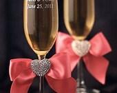 Crystal Heart Ribbon Toasting Glasses- Custom Colors!  - Custom Engraving Available - 300300
