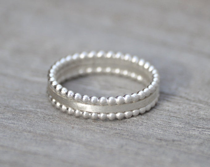 Stacking Ring Set Of 3 In Sterling Silver, Everyday Jewelry Handmade In England, Made To Order Rings