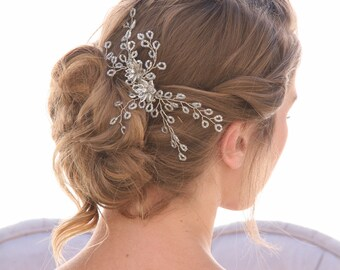 Spray of Beads Wedding Hair Comb, Wedding Headpiece, Beaded Bridal Comb Rhinestone and Crystal Hair Accessory
