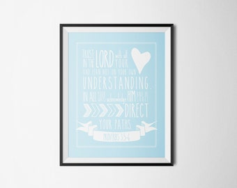 DIY Robin Blue Trust in the Lord with All Your Heart Religious Printable Word Art 8x10 - Typography - Proverbs 3 - Instant Download