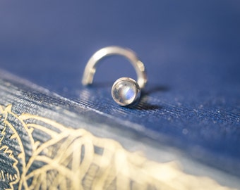 Little 3mm Rainbow Moonstone Nose Stud That's Carefully Bezel Set In Silver (Stunning Blue Flash Included!)