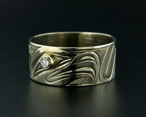 Mens Haida 14k White Gold Wedding Ring Eagle Design With 16pt