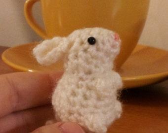 Wee Bunny - cute miniature crochet amigurumi white rabbit - woodland animal ornament gift