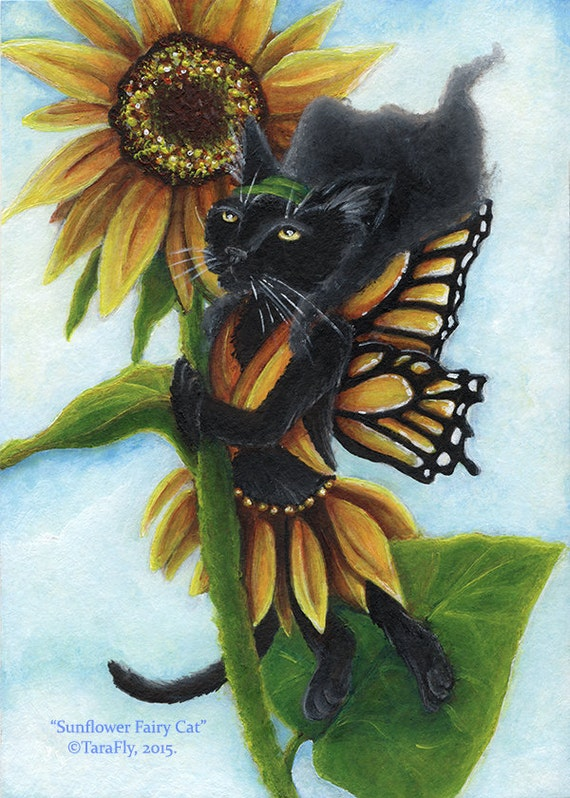 Black Cat Art, Sunflower Butterfly Fairy Cat 5x7 Fantasy Fine Art Print