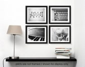 Save 20%, Photography Print Set, Still Life Photographs, Black and White Modern Decor, Wall Art, Piano Typewriter, Vintage Inspired, Library