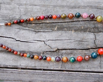 Graduated Dragon's Vein Agate Necklace with Copper Accents