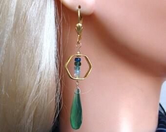 Green Chalcedony Earrings- Apatite, Aquamarine, Gold Filled