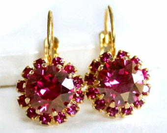 Champagne Fuchsia Swarovski Crystals Framed with Fuchsia Halo Crystals on Gold Lever Back Earrings, Crystal Halo Dangles