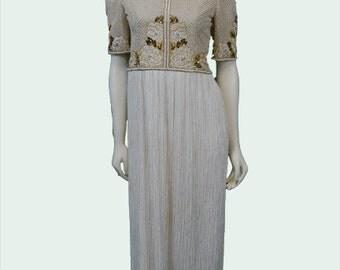 Mary McFadden Beaded Pleated Dress 1980