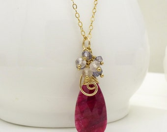 Gold ruby pendant, 14kt gold filled wire wrapped hot pink ruby necklace with blue iolite, purple amethyst and pink rose quartz gemstones