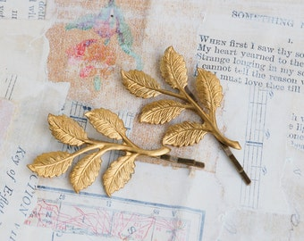 Gold Branch Bobby Pins Gold Leaf Woodland Wedding Golden Leaves Fairy Faerie Nature Garden Wedding Bridal