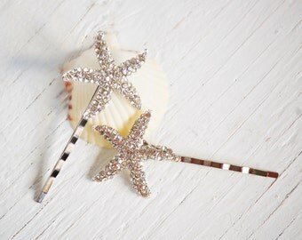 Rhinestone STAR Hair Accessories Bobby Pin Set Beach Wedding Sea Star STARFISH