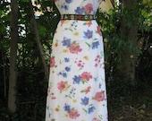 90s SHEER STRETCH Maxi Dress, 1990s floral steampunk sheer white maxi dress