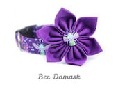 Purple Paisley Dog Collar Flower Set - Bee Damask