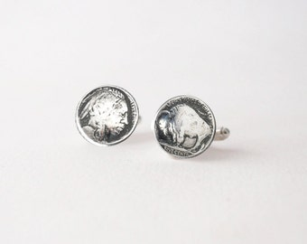 Buffalo Cufflinks -   Sterling Silver Buffalo Head Nickel CuffLinks - Men's Buffalo Head Cuff Links -  Wedding Cuff Links