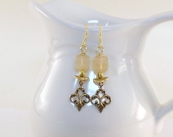 Antique Gold And Cream Earrings - Czech Glass Earrings - Gold Earrings - Wire Earrings - Cream Earrings - Gold Color Earrings -Long - E067
