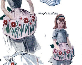 "UNCUT 1950s Simplicity  Pattern 3741 // Mother and Daughter Fashion Aprons ""Easy to Make"" * Transfers Included"
