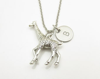 Giraffe Necklace and Initial, Silver Giraffe Charm, Personalized Initial, Animal Charm Jewelry, Stainless Steel Stamped Monogram, Y056