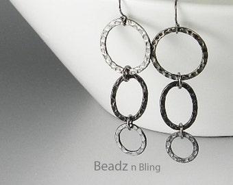 Long Black Earrings, Hammered Metal Hoop Earrings, Zen Jewelry, Long Dangle Earrings, Gunmetal Black Earrings