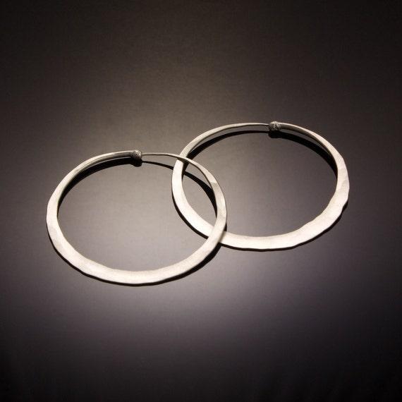 2 inch XL Satin Silver Hoop Earrings