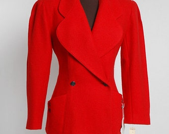 vintage KARL LAGERFELD red wool jacket * mint * new with thousand dollar tag * 1980s 1990s couture designer