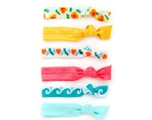 The California Package - 6 Elastic Golden State CA Poppy Wave Heart Hair Ties that Double as Bracelets by Mane Message on Etsy