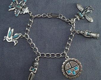 Southwestern Native Indian Turquoise Charm Bracelet Vintage Sancrest