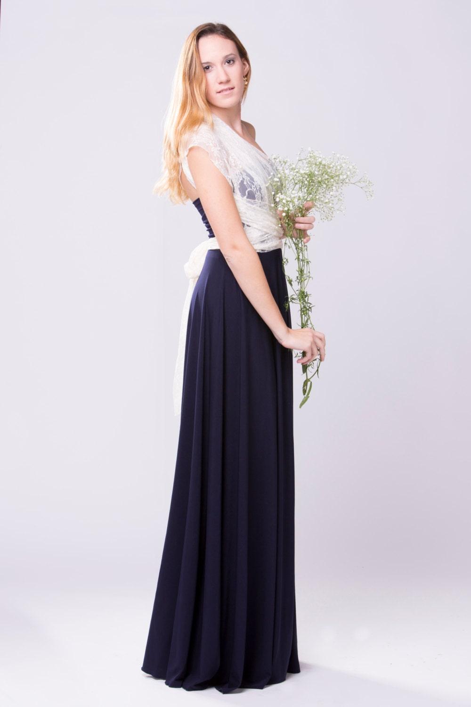 Maxi dress navy long lace dress vintage style wedding dress for Navy maxi dresses for weddings