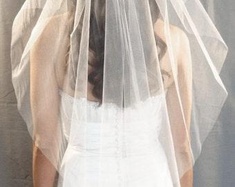 Angel Cut Veil, Cut Edge Bridal Wedding Veil Style