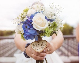 Rustic Wedding Bouquet Wood Heart Charm Large Personalized Wooden Heart Wood Burned Engraved Bridesmaid Bouquet Heart Rustic Wedding Heart
