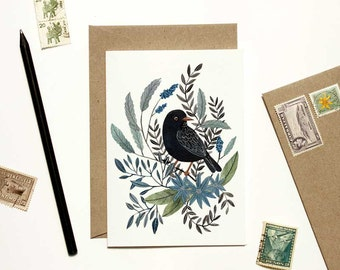 Black Bird with Blue Floral Card