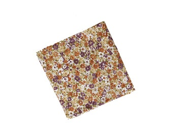 Lilac 02 - Peach/Purple Floral Pocket Square