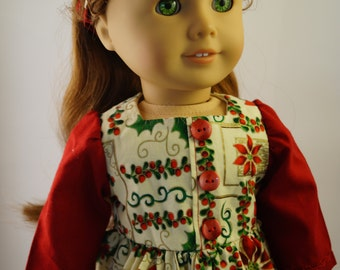 Pointsettia Christmas Dress with Violin Necklace for 18 inch Doll